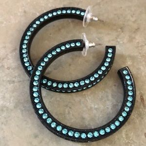Jewelry - Brand new Swarovski crystal hoop earrings in ocean